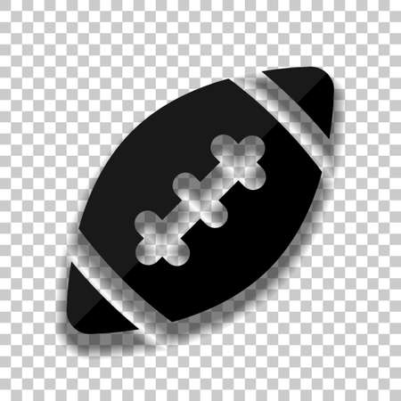 American Football logo. Simple rugby ball icon. Black glass icon with soft shadow on transparent background Çizim