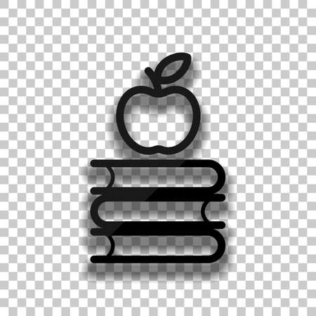 Apple on books icon. Knowledge logo. Black glass icon with soft shadow on transparent background Иллюстрация