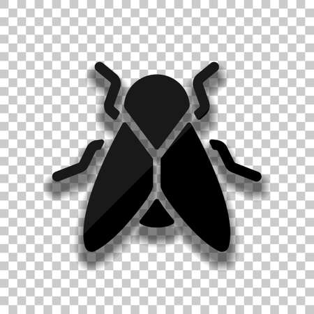 Silhouette of fly. Insect, nature icon. Black glass icon with soft shadow on transparent background
