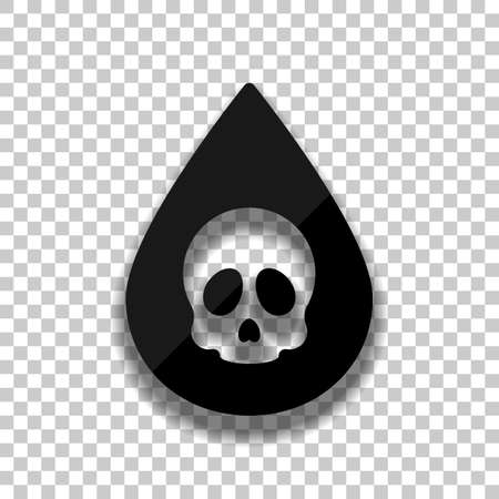 Drop of poison or acid with skull symbol. Icon of danger. Black glass icon with soft shadow on transparent background