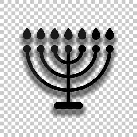 Hanukkah icon or menorah lamp. Outline Jewish Candles. Black glass icon with soft shadow on transparent background