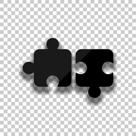 Two pieces of puzzle, creative teamwork, different solutions, logic game, simple icon. Black glass icon with soft shadow on transparent background
