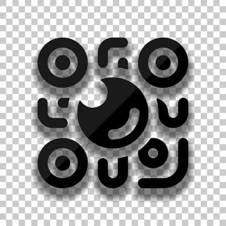 QR scanner, Scan by mobile camera, logo for app, icon with qrcode and lens. Black glass icon with soft shadow on transparent background