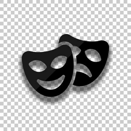 Smile and sad masks, comedy and drama theater, opposite emotions. Icon with happy and depressed faces. Black glass icon with soft shadow on transparent background