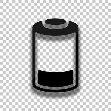Low battery, technology icon. Black glass icon with soft shadow on transparent background