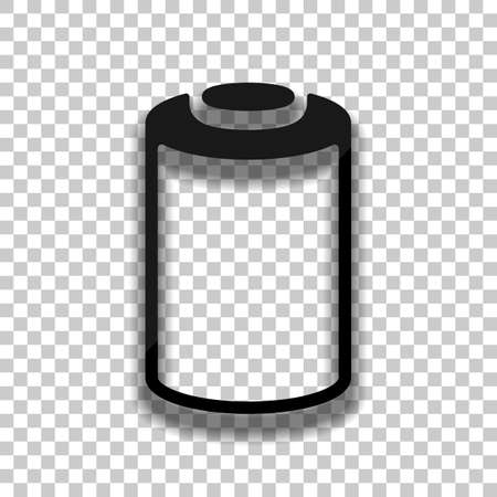 Empty battery, low level of energy, technology icon. Black glass icon with soft shadow on transparent background Ilustrace