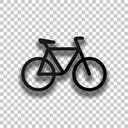 Simple bicycle, linear outline icon of bike. Black glass icon with soft shadow on transparent background