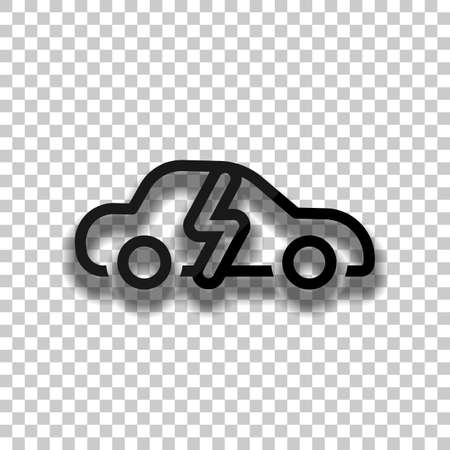 Eco logo of electric car with lightning mark, technology icon. Black glass icon with soft shadow on transparent background Vettoriali