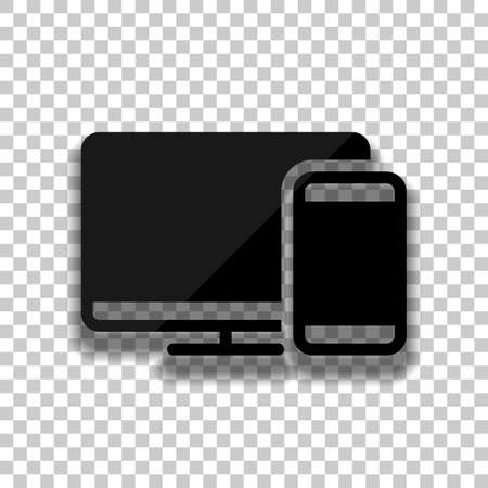Computer and phone, technology icon. Black glass icon with soft shadow on transparent background