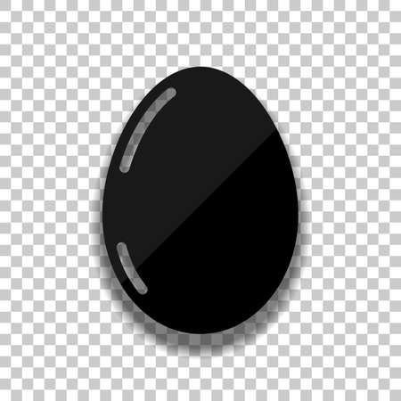 Simple icon of egg with reflection, sign of easter. Black glass icon with soft shadow on transparent background