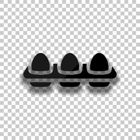 egg tray, simple icon. Black glass icon with soft shadow on transparent background