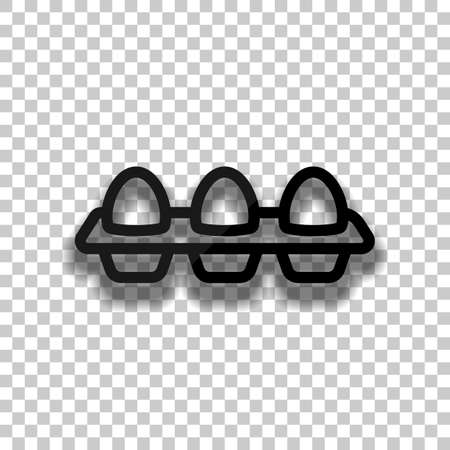 egg tray, linear outline icon. Black glass icon with soft shadow on transparent background
