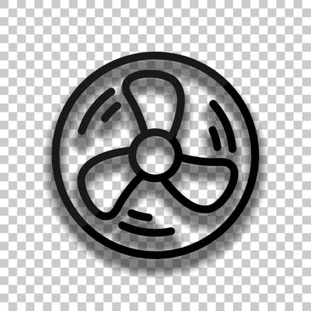 Simple fan or cooler, outline linear icon in circle. Black glass icon with soft shadow on transparent background