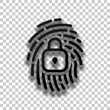 Fingerprint with close lock, personal protect, secutiry icon. Black glass icon with soft shadow on transparent background