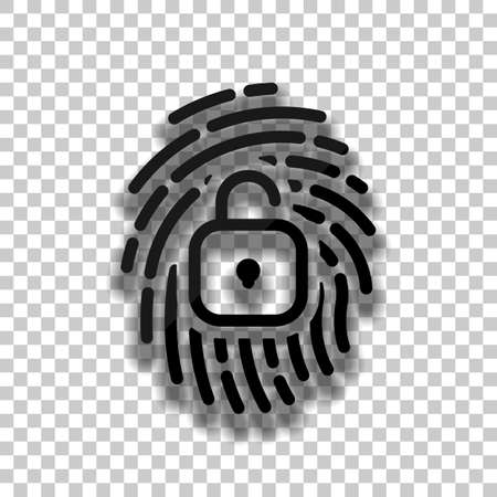 Fingerprint with open lock, personal protect, secutiry icon. Black glass icon with soft shadow on transparent background Vettoriali