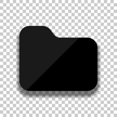 Folder of documents, portfolio with files, business icon. Black glass icon with soft shadow on transparent background