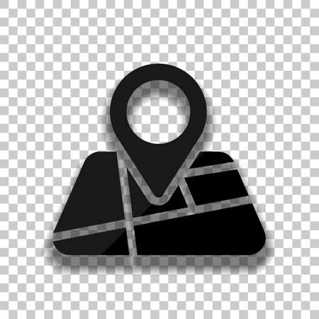 Map with pin, geo locate, pointer icon. Black glass icon with soft shadow on transparent background Vettoriali
