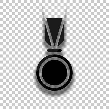 Award, medal with ribbon, icon of sport. Black glass icon with soft shadow on transparent background