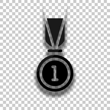 Award, medal with ribbon and number one, icon of sport. Black glass icon with soft shadow on transparent background Vettoriali