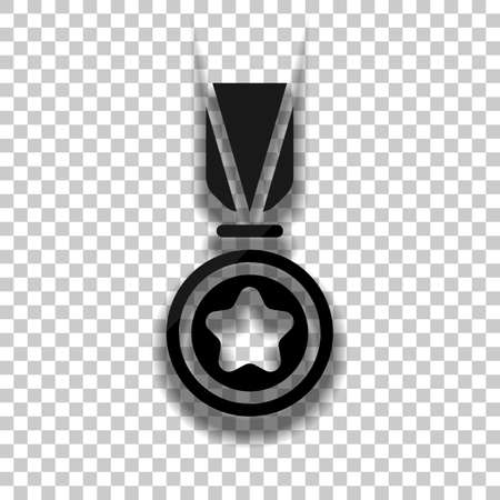 Award with star, medal and ribbon, icon of sport. Black glass icon with soft shadow on transparent background Vettoriali