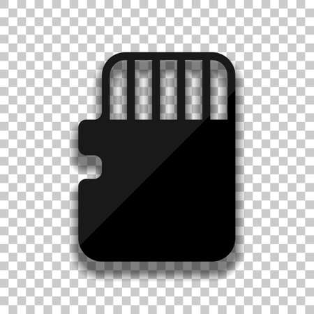 Memory card, micro sd, technology icon. Black glass icon with soft shadow on transparent background