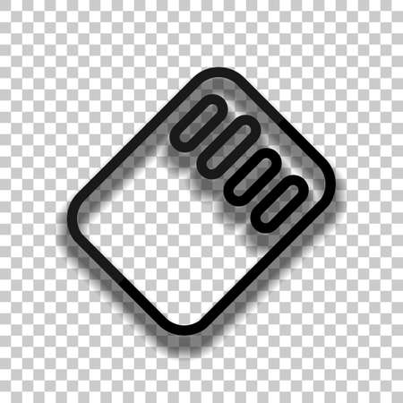 Memory card, micro sd, linear outline technology icon. Black glass icon with soft shadow on transparent background