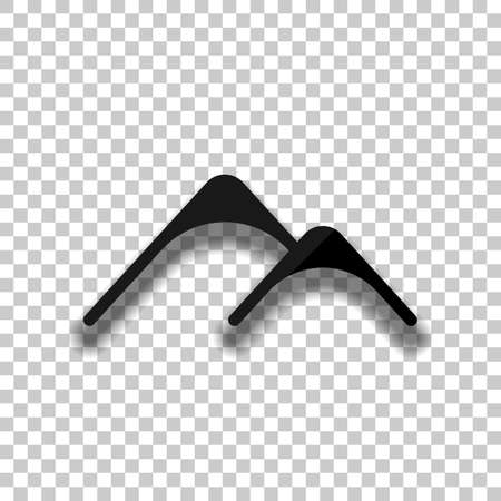 Mountains logo, simple icon. Black glass icon with soft shadow on transparent background Vettoriali