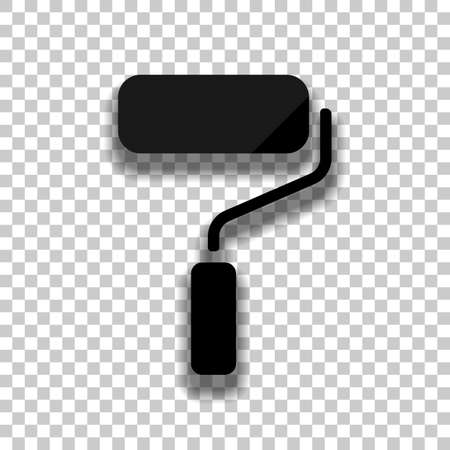 Paint roller, paintbrush icon. Black glass icon with soft shadow on transparent background
