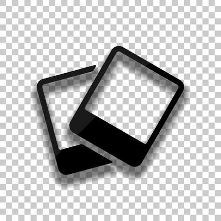 Pair photos, image files, album of pictures, simple icon. Black glass icon with soft shadow on transparent background Vettoriali