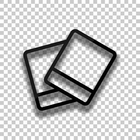 Pair photos, image files, album of pictures, outline linear icon. Black glass icon with soft shadow on transparent background