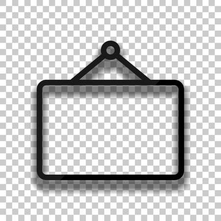 Photo frame for picture, outline linear icon. Black glass icon with soft shadow on transparent background