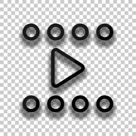 Play movie, linear outline icon. Black glass icon with soft shadow on transparent background
