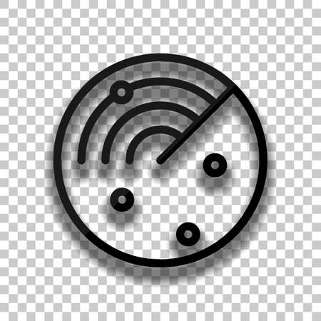 Radar screen, scan circle, linear outline icon. Black glass icon with soft shadow on transparent background