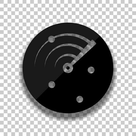 Radar screen, scan circle, icon. Black glass icon with soft shadow on transparent background