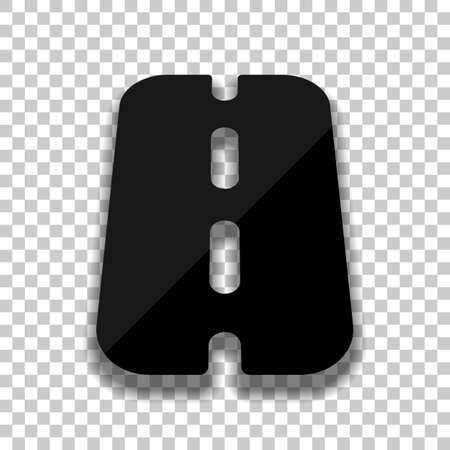Road or highway, simple icon. Black glass icon with soft shadow on transparent background
