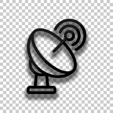 Satellite antenna, communication, outline linear icon. Black glass icon with soft shadow on transparent background Ilustración de vector