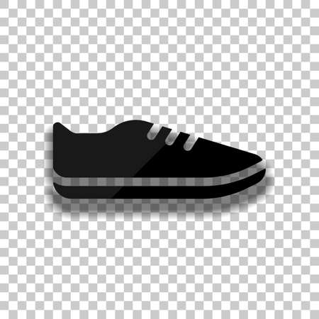 Shoe or sneaker, icon of sport. Black glass icon with soft shadow on transparent background