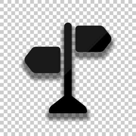 Signpost, pictogram of directions, make a choice, simple icon. Black glass icon with soft shadow on transparent background Vettoriali