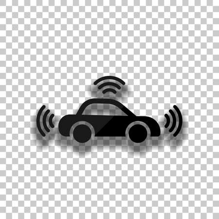 Smart car, modern autonomous auto, automatic transport, technology icon. Black glass icon with soft shadow on transparent background