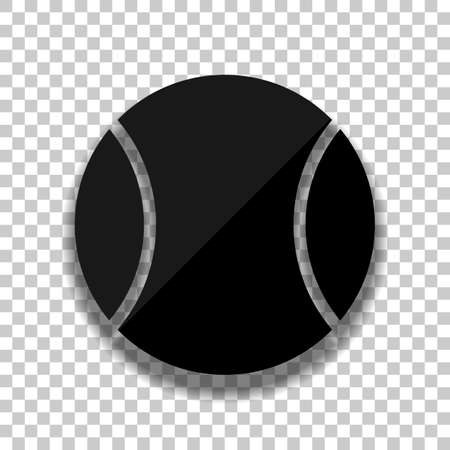 Tennis ball, sport game, simple icon. Black glass icon with soft shadow on transparent background