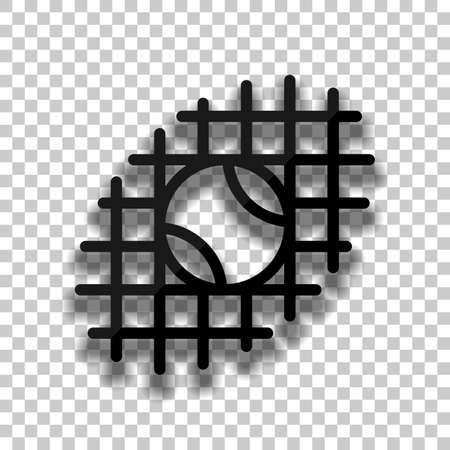 Tennis ball and grid, sport game, outline linear icon. Black glass icon with soft shadow on transparent background Illustration