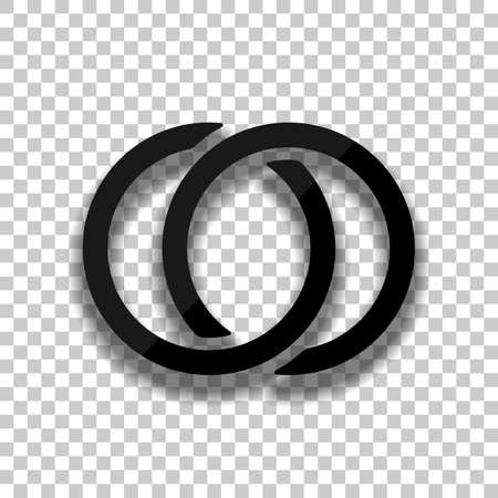Wedding rings, pair linked circles, simple icon. Black glass icon with soft shadow on transparent background