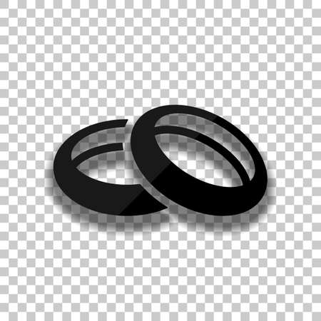 Wedding rings, pair circles, simple icon. Black glass icon with soft shadow on transparent background Stock fotó - 147890901