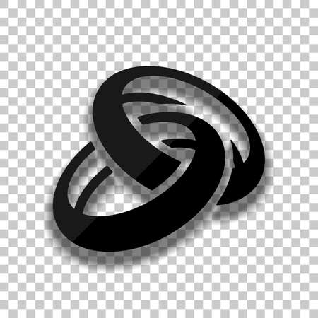 Wedding rings, pair crossed and linked circles, simple icon. Black glass icon with soft shadow on transparent background