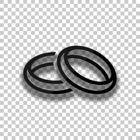 Wedding rings, pair crossed and linked circles, linear outline icon. Black glass icon with soft shadow on transparent background