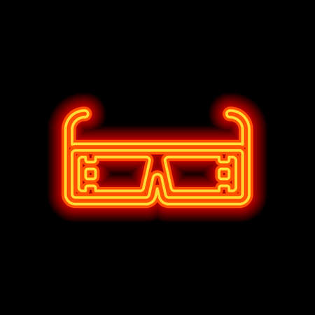 3D movie glasses. Icon of cinema technology. Orange neon style on black background. Light icon