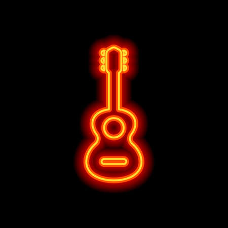 Acoustic guitar icon. Shape of classical musical instrument. Orange neon style on black background. Light icon