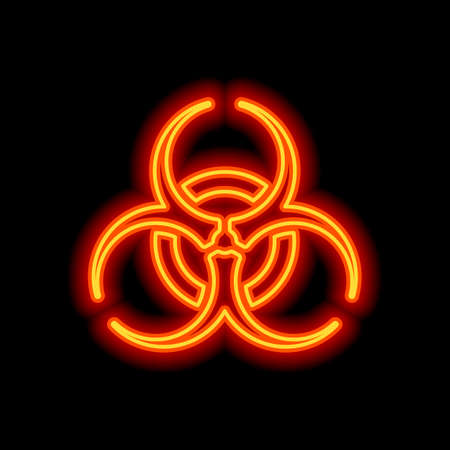 Bio hazard icon. Warning sign about virus or toxic. Orange neon style on black background. Light icon Vettoriali