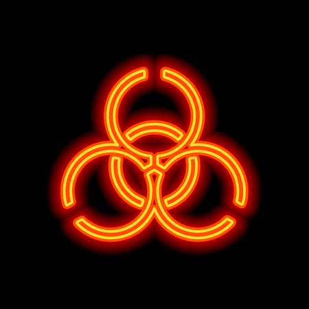 Bio hazard icon. Warning sign about virus or toxic. Linear design. Orange neon style on black background. Light icon