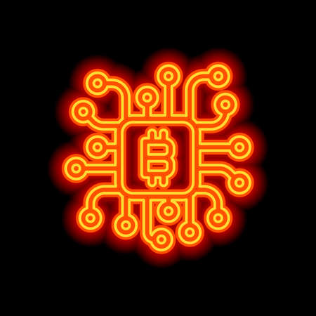 Linear bitcoin chip icon. Processor for farming. Orange neon style on black background. Light icon Vettoriali